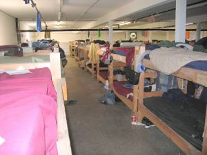 One row of the bunkhouse. This room had about 160 beds, and was one of four.