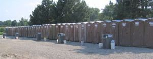 Endless line of portable toilets